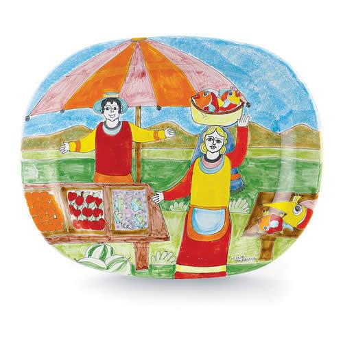 Parrucca Rectangular Decorator Plate Folk