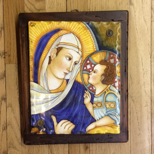 Deruta Madonna and Child Ceramic Painting
