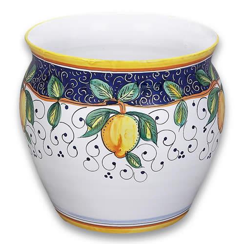 Ornato Wheel Thrown, Cachepot or Planter with Lemon
